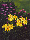 art print of yellow lilies